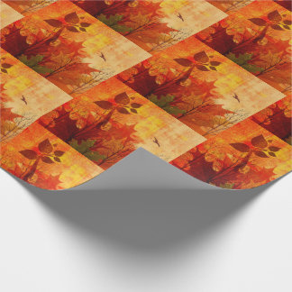 Distressed Watercolor Over Autumn Leaves Wrapping Paper