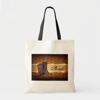 distressed western country cowboy wedding bride tote bag