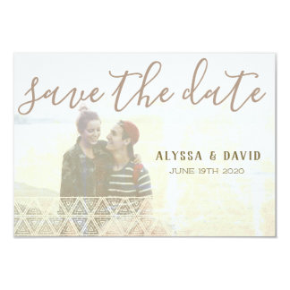 Distressed White Triangles Photo Save the Date Card