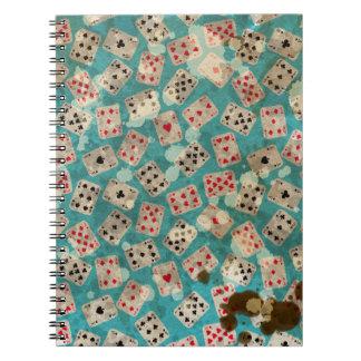 Distressed Wonderland Alice Pattern Spiral Notebook