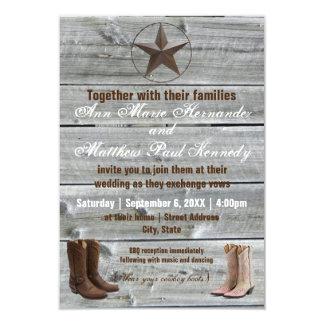 Distressed Wood Cowboy Boots-3x5Wedding Invitation