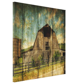 Distressed wood primitive Western Country Old Barn Canvas Print