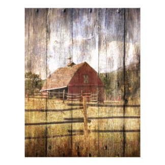 Distressed Wood Rustic Western Country Red Barn Letterhead
