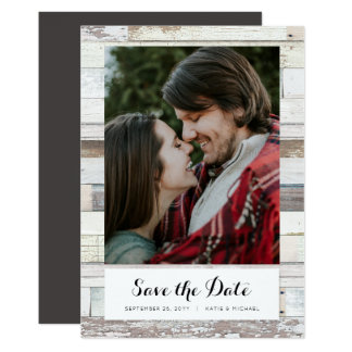 Distressed Wood Save the Date Card