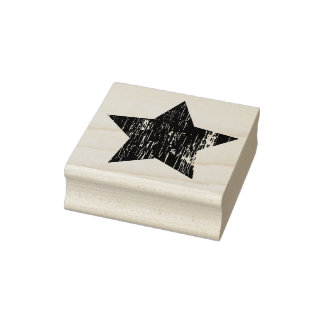 Distressed Wood Star Rubber Art Stamp