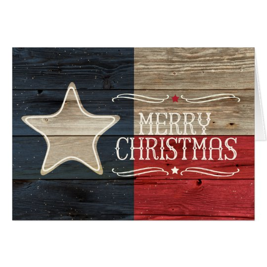 Distressed Wood Texas Flag Christmas Card