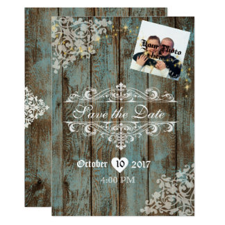 Distressed Wood Wedding Save the Date W/Sparkles Card