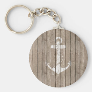 Distressed Wood with Anchor Basic Round Button Keychain