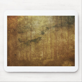 Distressed worn-out vintage brown forest art mouse pad
