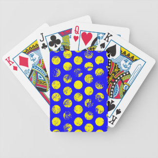 Distressed Yellow Spots on Blue Bicycle Playing Cards