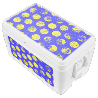 Distressed Yellow Spots on Blue Cooler