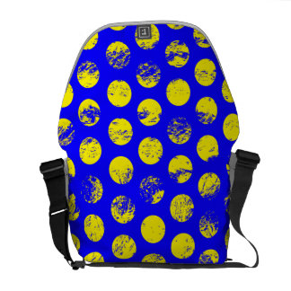 Distressed Yellow Spots on Blue Courier Bag