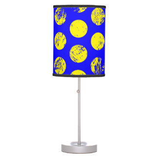 Distressed Yellow Spots on Blue Desk Lamp