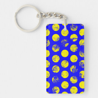 Distressed Yellow Spots on Blue Double-Sided Rectangular Acrylic Keychain