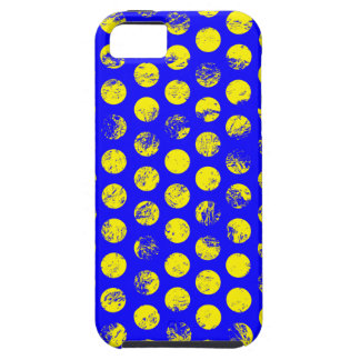 Distressed Yellow Spots on Blue iPhone 5 Case