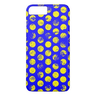 Distressed Yellow Spots on Blue iPhone 8 Plus/7 Plus Case