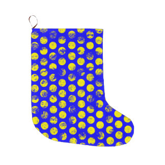 Distressed Yellow Spots on Blue Large Christmas Stocking