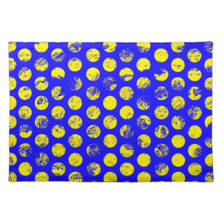 Distressed Yellow Spots on Blue Placemat