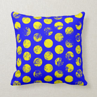 Distressed Yellow Spots on Blue Throw Pillow