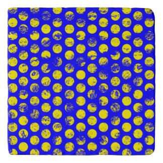 Distressed Yellow Spots on Blue Trivet