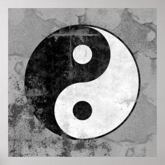Distressed Yin Yang Symbol Poster