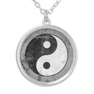 Distressed Yin Yang Symbol Silver Plated Necklace