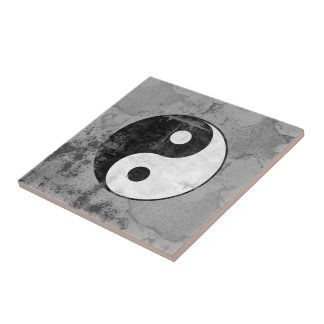 Distressed Yin Yang Symbol Tile