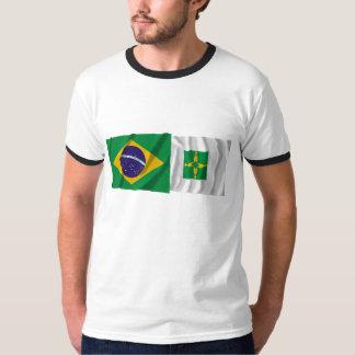 Distrito Federal & Brazil Waving Flags T-shirt