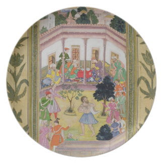 Disturbance by a madman at a social gathering, fro party plate