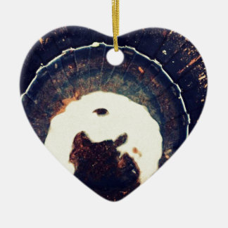Disturbed waters ceramic heart ornament