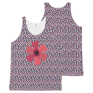 Ditsy Floral Meadow on Bright Navy All-Over-Print Tank Top