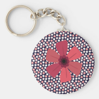 Ditsy Floral Meadow on Bright Navy Keychain