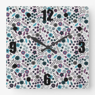 Ditsy Floral Pattern in Blue and Purple Square Wall Clock