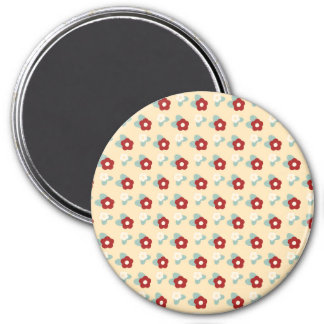 Ditsy Floral Pattern Maroon Teal and Buff 3 Inch Round Magnet