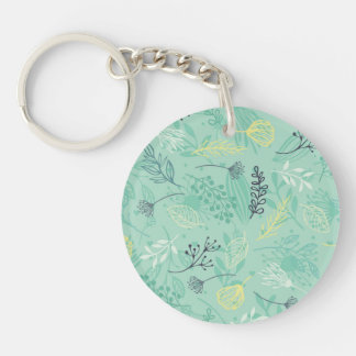 Ditsy Forest Herbs Blue Background Keychain