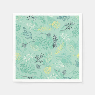 Ditsy Forest Herbs Blue Background | Napkin