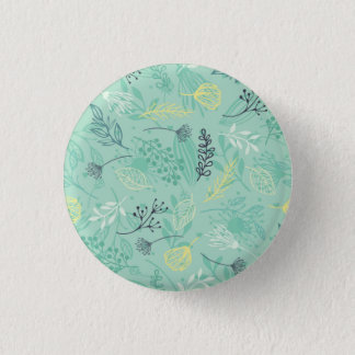 Ditsy Forest Herbs Blue Background Pin Button