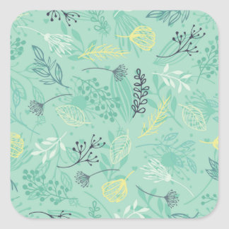 Ditsy Forest Herbs Blue Background Sticker Seal