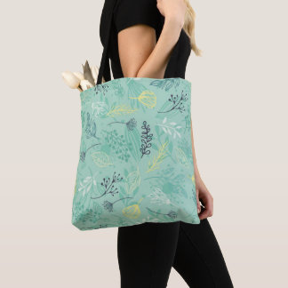 Ditsy Forest Herbs Blue Background Tote Bag