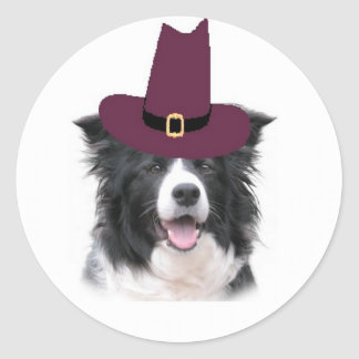 Ditzy Dogs~Border Collie Sticker~Thanksgiving Classic Round Sticker