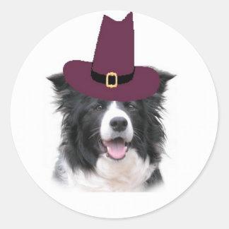 Ditzy Dogs~Border Collie Sticker~Thanksgiving Round Sticker