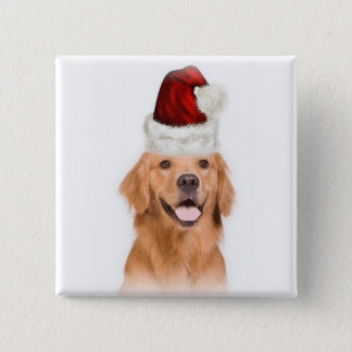 Ditzy Dogs~Original Button~Golden Retriever 2 Inch Square Button