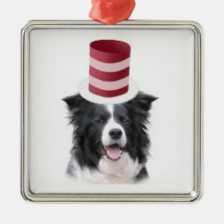 Ditzy Dogs~Original Ornament~Border Collie Silver-Colored Square Ornament