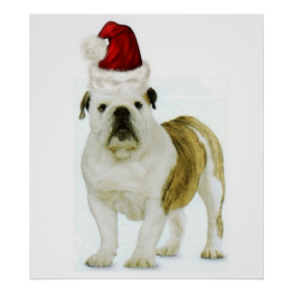 Ditzy Dogs~Original Poster~Bulldog~Christmas Poster