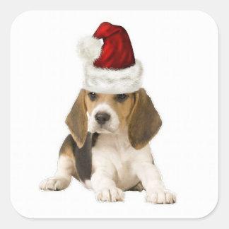 Ditzy Dogs~Original Sticker~Beagle~Christmas Square Sticker