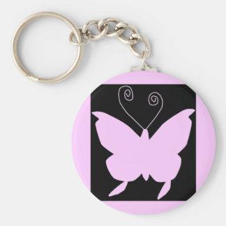 Diva Butterfly Basic Round Button Keychain
