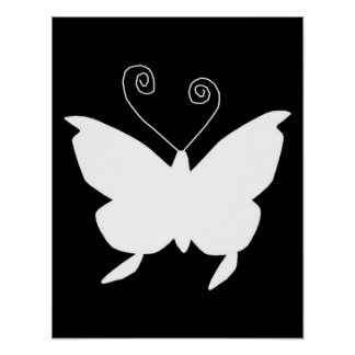 Diva Butterfly In White Poster