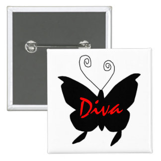 Diva Butterfly Pinback Buttons