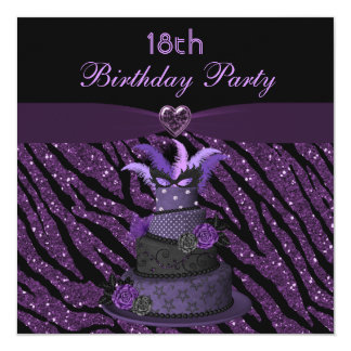 Diva Cake & Printed Zebra Glitter 18th Birthday Card