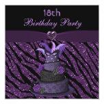 "Diva Cake & Printed Zebra Glitter 18th Birthday 5.25"" Square Invitation Card"